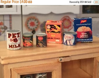 SALE Miniature Food Boxes and Can Set, Groceries, Dollhouse Miniatures, 1:12 Scale, Miniature Food, Dollhouse Food, Miniature Accessories