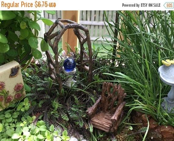 SALE Mini Twig Arbor Arch, Woodland Arbor, Rustic Twig Fairy Garden Arbor, Miniature Garden Decor, Craft, Topper, Mini Wood and Moss Look Ar