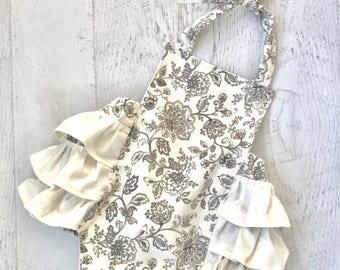 Ruffle Romper  - gray and cream floral romper - sunsuit- gray romper - flower romper
