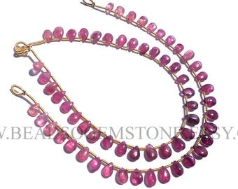 Gemstone Beads, Pink Tourmaline Smooth Pear (Quality A) / 4x6 to 5x7.50 mm / 18 cm / TOUR-034