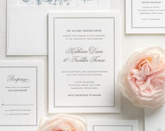 Simply Classic Letterpress Wedding Invitations - Sample