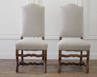 Set of Four Antique Renaissance Style Dining Chairs in Natural Linen