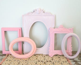 Pastel Pink Picture Frame Grouping - Empty Frames for Gallery Wall - Ornate Frames - Nursery Wall Frames - Oval Frame - Pink Painted Frames