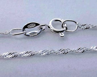5 pc, 18 inch, 925 Sterling Silver Singapore Chain with Spring Clasp, 1.5mm - Made in Italy - NCF