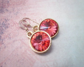 Coral Dangles -- Coral Drops -- Gold & Coral Earrings -- Coral Crystal Earrings -- Coral Swarovski Earrings -- Padparadscha Earrings