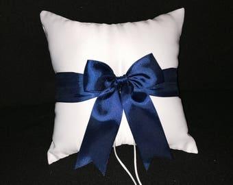 Navy Blue Bow Ivory or White Wedding Ring Bearer Pillow