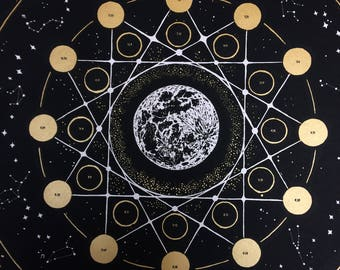 2018 Lunar Calendar, 2018 Moon Phase Calendar, 2018 Wall Calendar, Astrology, Astronomy,  Moon, Galaxies, Gold, Magic, large space art print