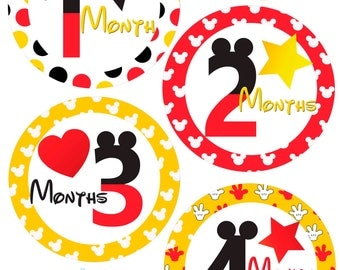 Monthly Baby Stickers - Mickey Mouse - Baby Boy - Photo Prop - Nursery Decor - New Baby