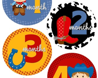 Monthly Baby Stickers - Cowboys - Western - Baby Boy - Photo Prop - Nursery Decor - New Baby