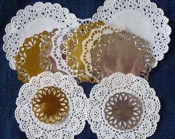 1 Dozen Delicate Doilies, Stampin' Up! White Lace Paper, Gold Foil, Silver Foil, Die Cuts