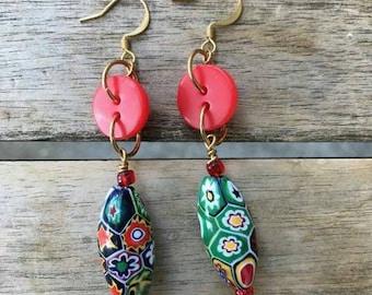 Dangle Millefiori Vintage Button Earrings