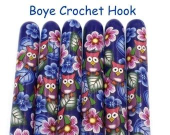 Crochet Hook, Polymer Clay Covered Boye Crochet Hook, Crochet Hook sizes B-N, Night Owl