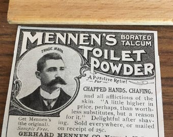 Mennen's toilet powder Newark New Jersey ad circa 1905 2 1/2 x 2.