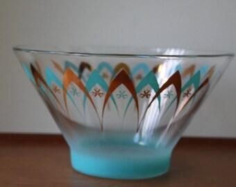Vintage Mid Century Modern Atomic Space Age Glass Serving Bowl, Chip-n-Dip, Salad Bowl, Punch Bowl, Retro, Turquoise, Gold