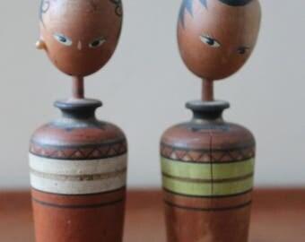 Rare Ethiopian Style Vintage Japanese Kokeshi Dolls from 60's or Older, Signed,