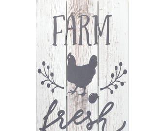 Farm Fresh Eggs Wooden Plank Sign 5x10