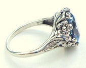Size 9, 6CT. Natural Blue Topez Ring, Antiqued Sterling Silver, Vintage Jewelry, Filigree Silver Band, Sky Blue Topaz, Floral Design Setting