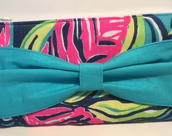Lily Pulitzer Private Island Bow Clutch Floral Wristlet Spring Clutch Summer Clutch Cruise Bag Vacation Bag