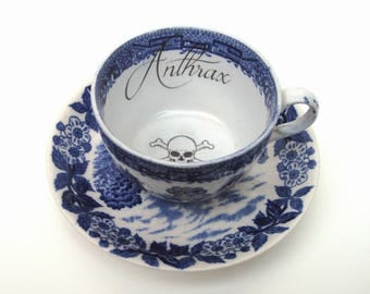 Anthrax Poison Altered Vintage Teacup and Saucer