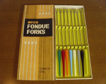 Vintage 1960's  Fondue Forks  Set Of 8