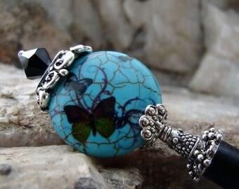 CIJ SALE Turquoise Blue Japanese Hair Stick Teal Blue Stone with Butterfly Aqua Geisha Hairsticks Kanzashi Hair Pins Hair Chopsticks Haarsta
