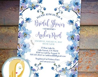 Orchid Bridal Shower Invitation, Orchids Invitation, Floral, Watercolor, Purple Blue, Gold Glitter, DIY, Printed or Printable Invitations
