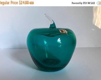 Vintage BLENKO Hand Blown Teal Colored Apple Sculpture with Sticker