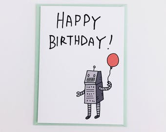 Happy Birthday Robot Card