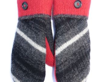 Wool Mittens from Recycled and Felted Sweaters // Fleece Lined // Black, Charcoal and Gray Diagonal Stripes with Red Accents