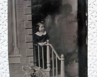 Tintype - Girl on the Steps