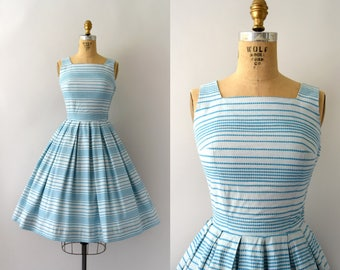 1950s Vintage Dress - 50s Dotted Stripe Teal Sundress