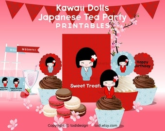 Kawaii Dolls Japanese Tea Party theme- PDF - Birthday Party Printables - INSTANT DOWNLOAD