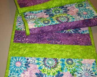 "Quilted Table Runner, Modern Abstract Aqua Blue Green Purple Flowers, 100% Cotton Fabrics, Reversible, 13.5 x 64"" Handmade"