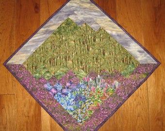 Purple Sky Trees Diagonal Art Quilt Fabric Wall Hanging, Textile Art, Landscape Art Quilt, Home Office Decor