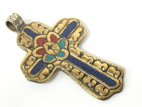 1 Pendant - Large Tibetan solid Brass cross pendant with lotus floral carving lapis turquoise coral  inlay - PM565A