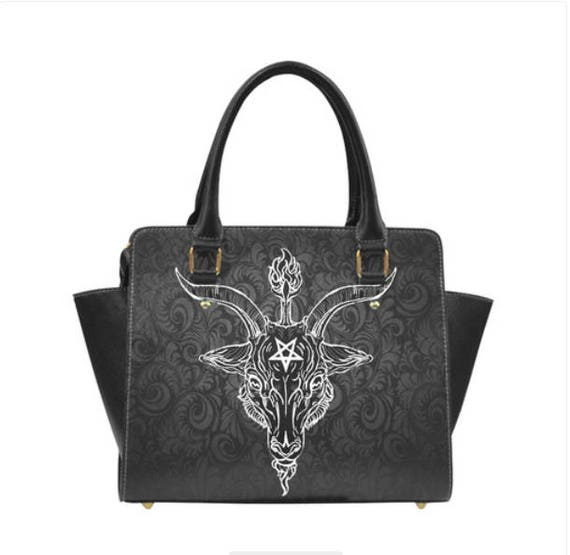 Baphomet Damask Shoulder Handbag