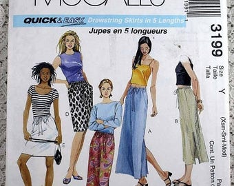ON SALE McCall's 3199, Misses' Skirts Sewing Pattern, Drawstring Skirt Pattern, Easy Skirt Pattern, Easy Sewing Pattern, Misses' Size 4 to 1