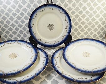 "5 Beautiful Flow Blue Dessert 6.5"" Plates H R Wyllie Gold Salad"