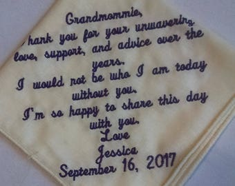 Personalized Embroidered Handkerchief - Grandmommie