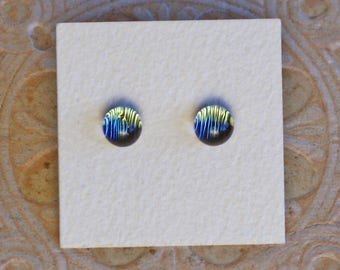 Dichroic Glass Earrings, Gray/Green Tint  DGE-1213