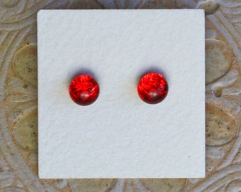 Dichroic Glass Earrings, Petite, Christmas Red  DGE-1240