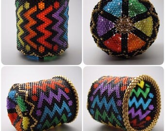 Rainbow pattern - beaded basket - collectible basket - bead art - rainbox basket - beadweaving - lightning - beadwoven basket - pride basket