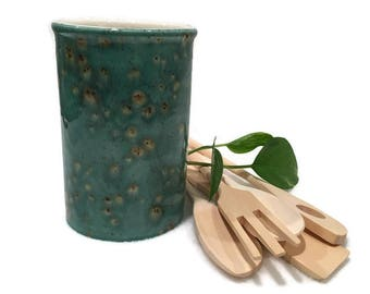 Kitchen Utensil Holder in Teal Blue and Brown - Small