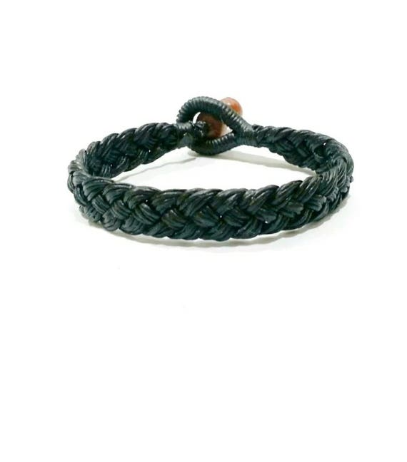 Plaited Waxed Cotton Wristband Handmade in Thailand