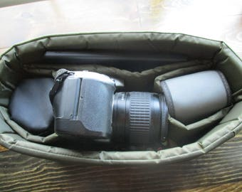 Olive Green Camera Bag Insert - Ready to Ship - Two Lens Sleeve-5x10x7
