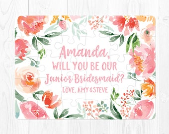 Junior Bridesmaid Puzzle Proposal Junior Bridesmaid Proposal Will You Be Our Junior Bridesmaid Will You Be My Junior Bridesmaid Gift Pink