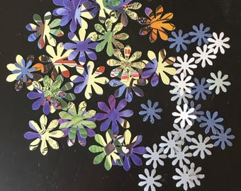 44 die cut flowers, upcycled from botanical calendar - big & small included