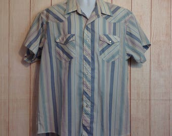 Vintage Pearl Snap Country Western Rockabilly Shirt Mens Wrangler Mens 2X