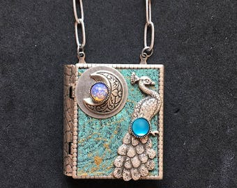 Peacock and New Moon - miniature book necklace