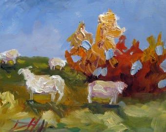 Sheep farm landscape original 8x10 oil painting Art by Delilah